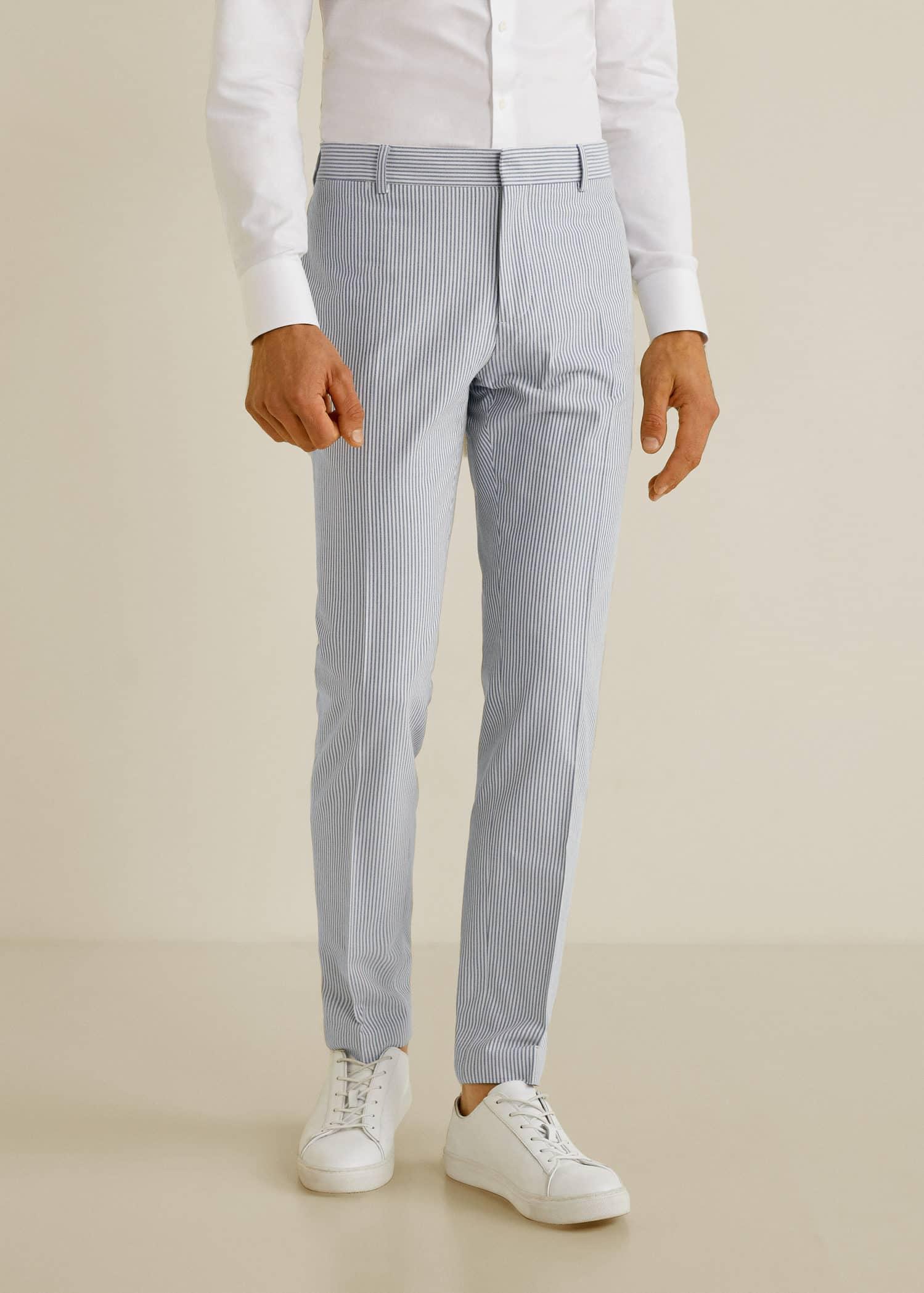 Super Slim Fit Seersucker Suit Blazer Men Mango Man Usa