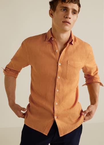 8e960c6dd46 Camisa regular-fit lino bolsillo - Plano medio