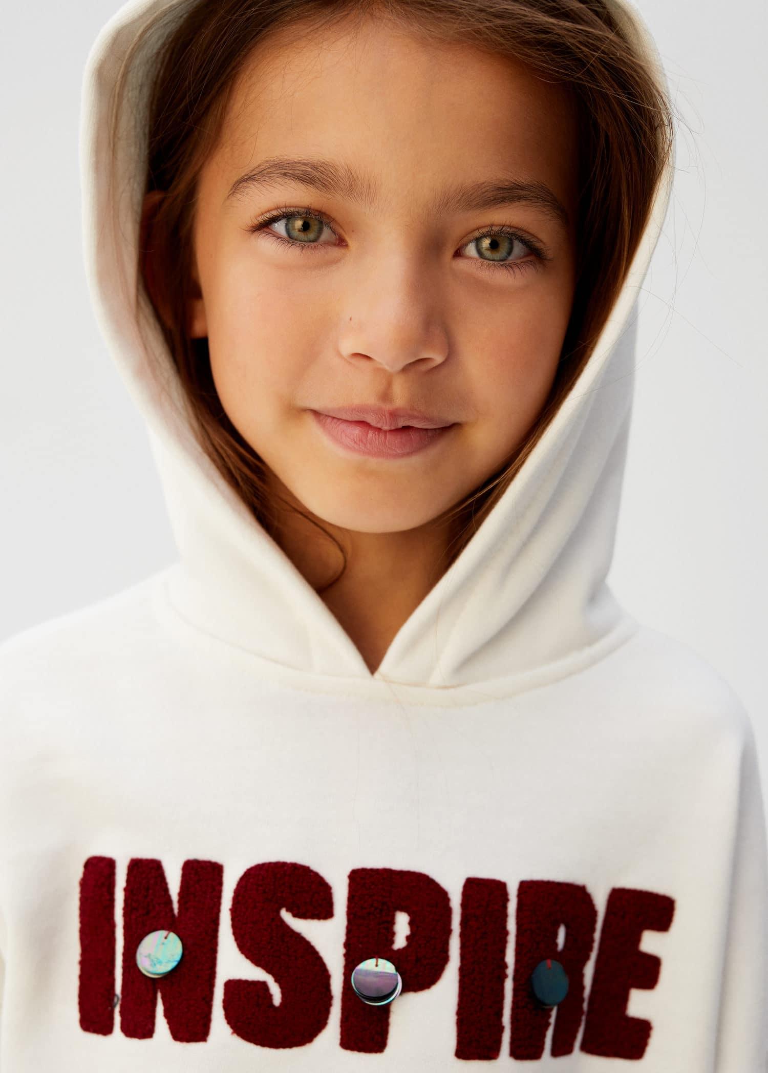 Sudadera capucha mensaje Niña | Mango Kids España