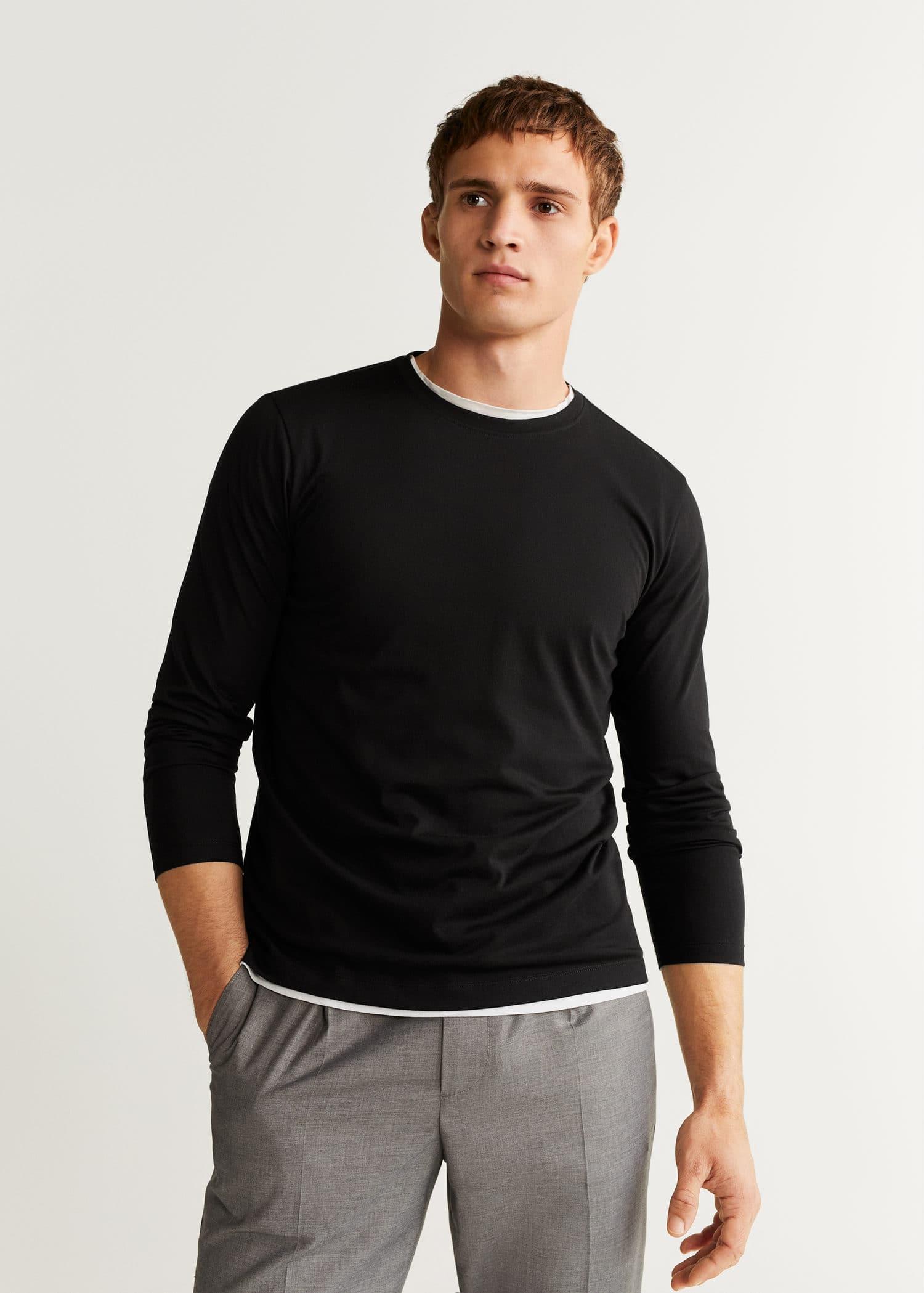 Camiseta algodón manga larga Hombre | Mango Man España