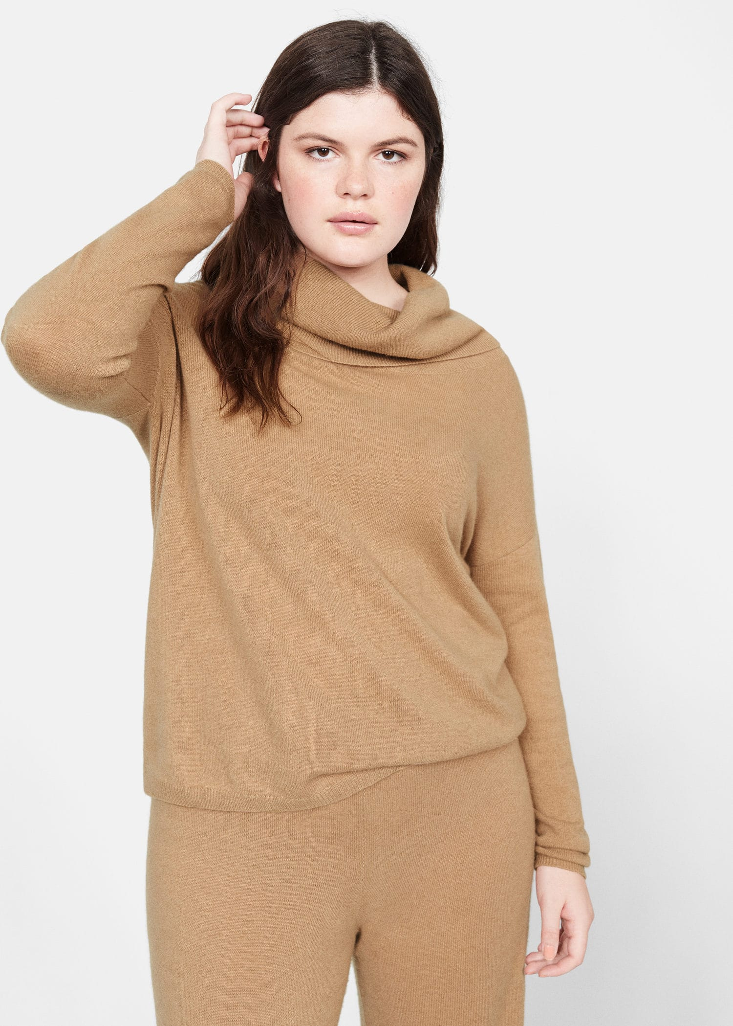 Pull over 100 % cachemire col montant