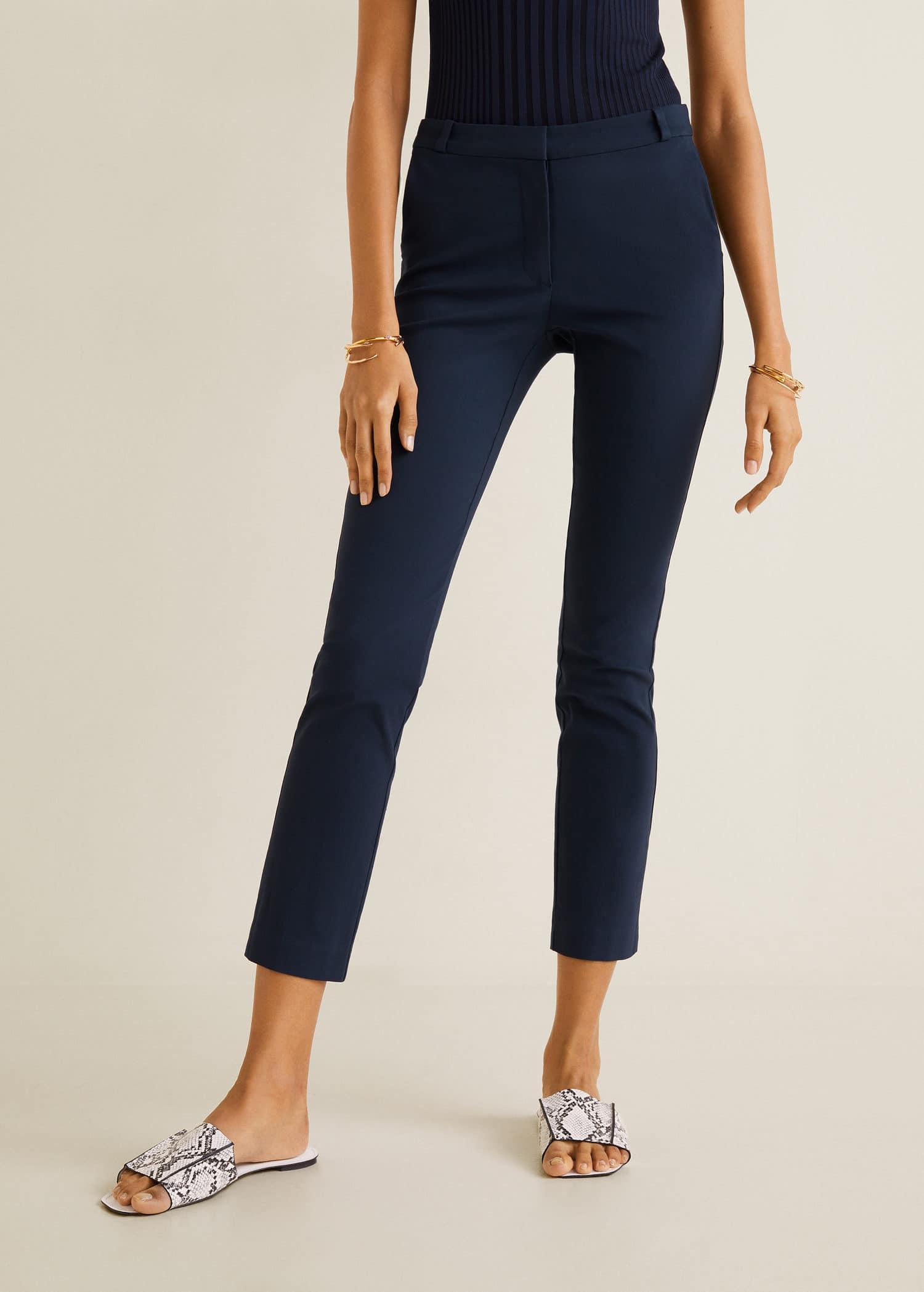 pantalon pitillo azul mujer mango