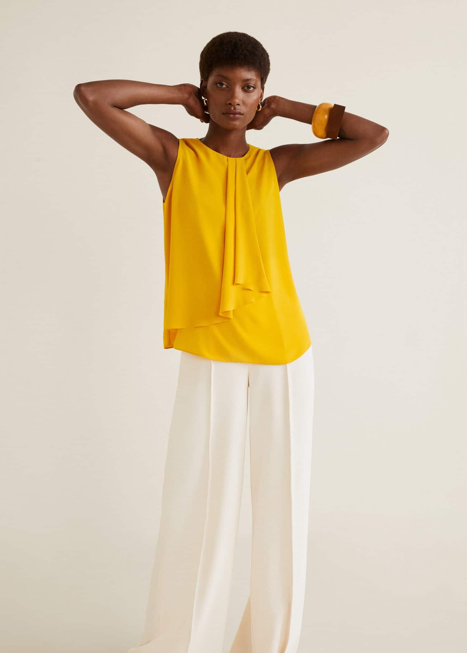 Dekorativ bluse med rysj Damer | OUTLET Norge