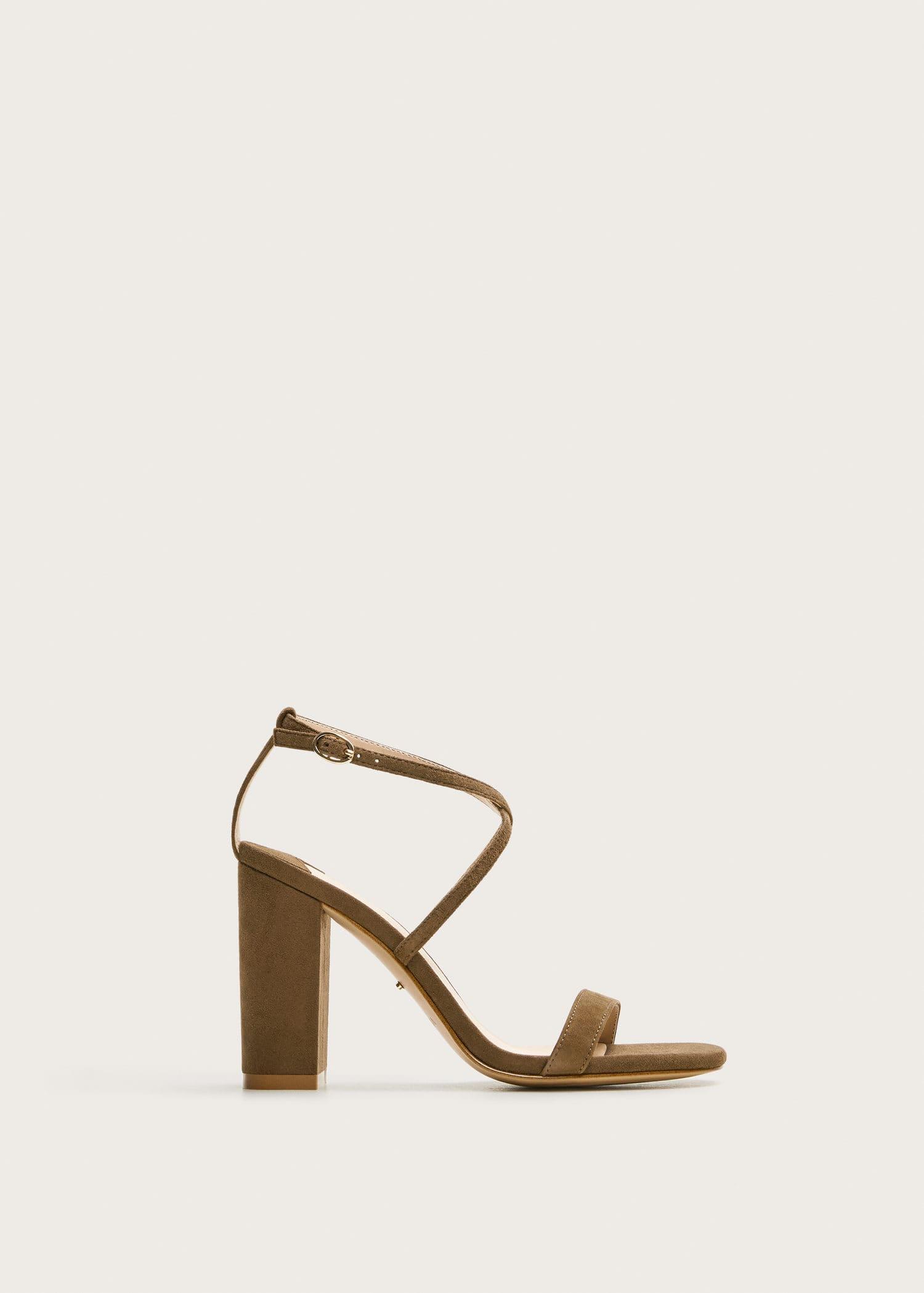 Häl läder sandaler Damer   Mango Sverige