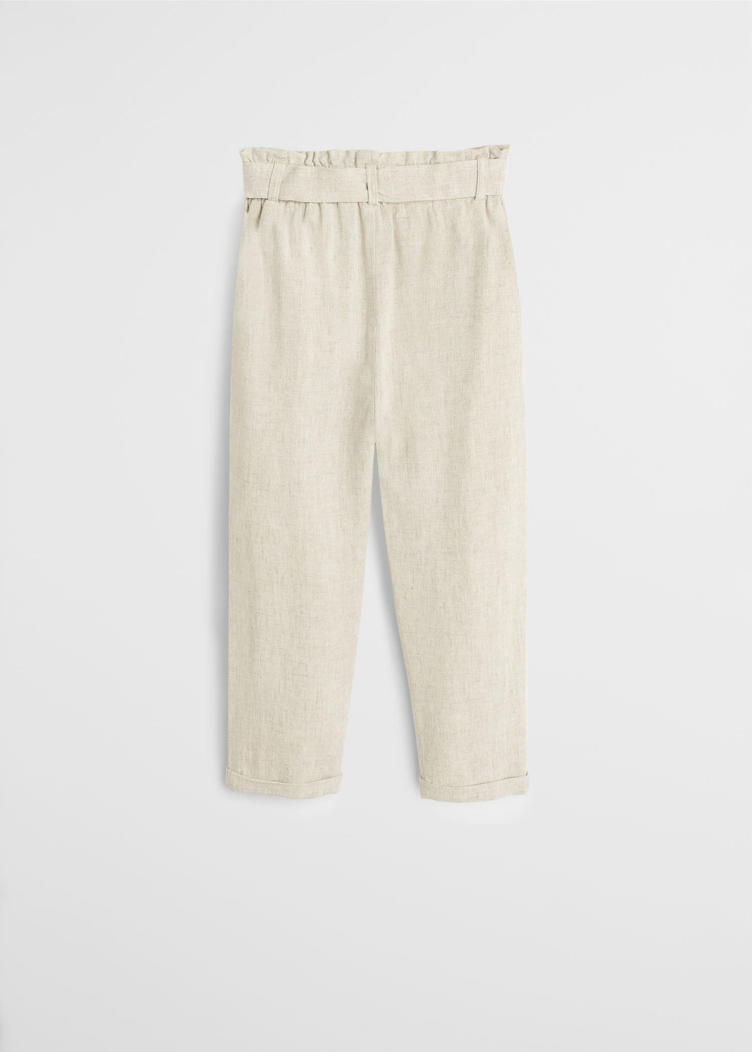 Spodnie lniane wiązane z przodu Dziewczynka | Mango Kids