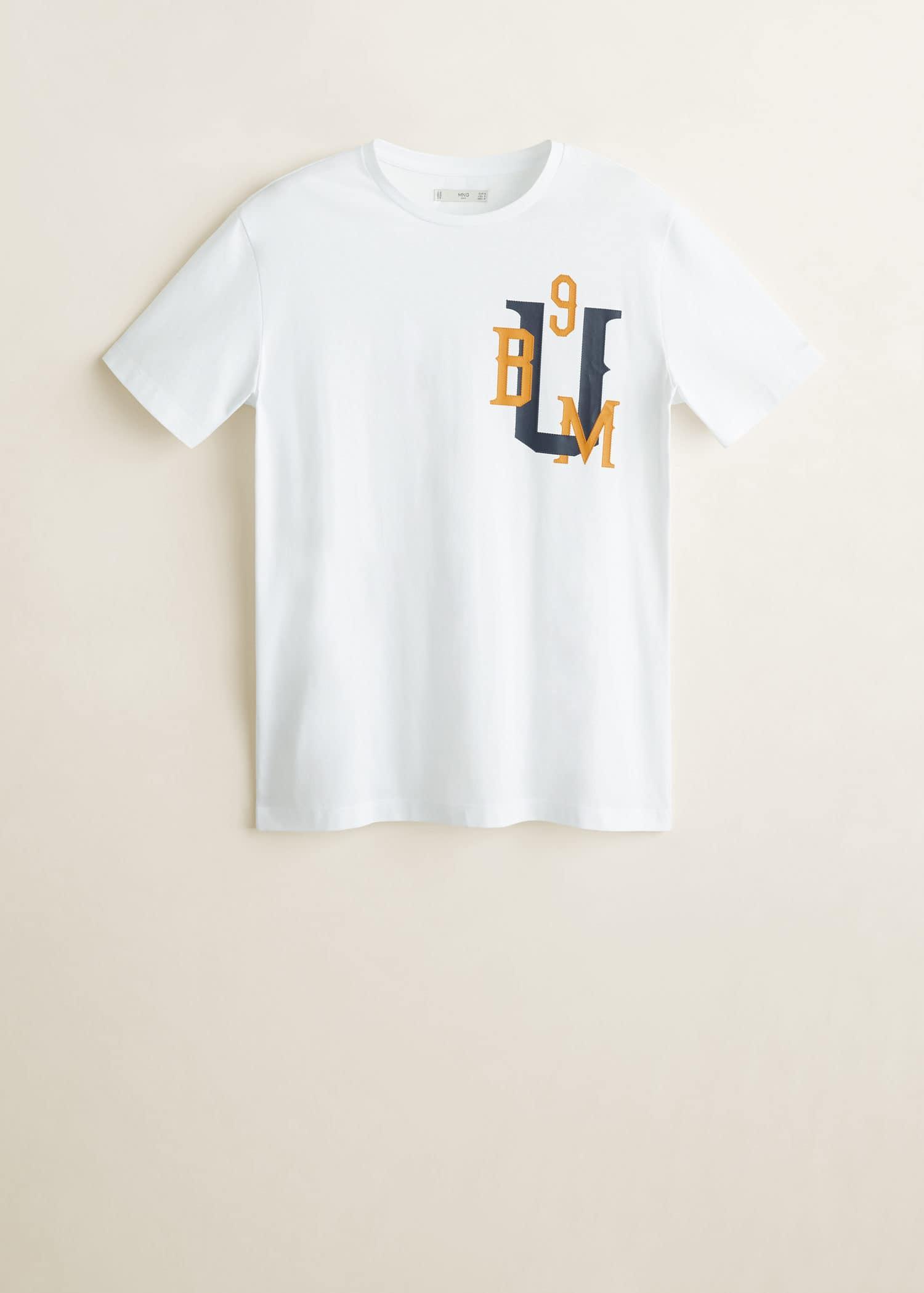 T skjorte i bomull med rund hals Menn   Mango Man Norge