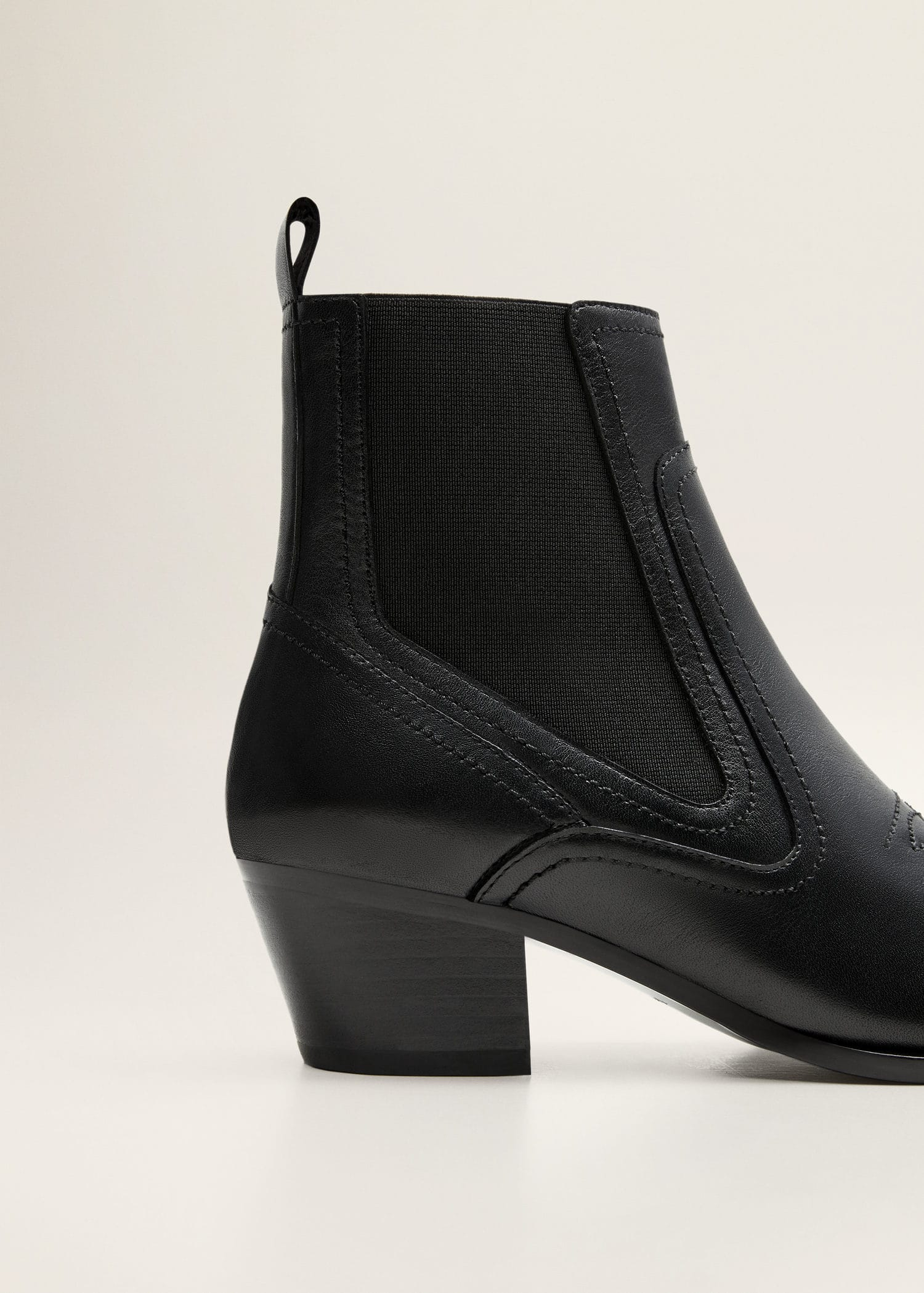 Bottines en cuir noir Femme à plaque métallique | Jonak