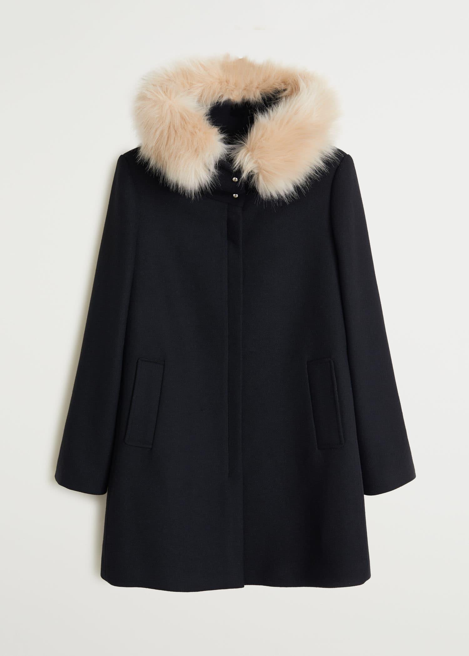 WomenMango Faux Fur Hooded Kingdom United Coat O0k8nwP
