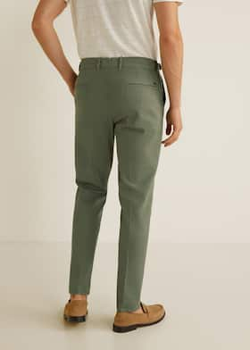 e753434d2f Regular fit pleated cotton trousers