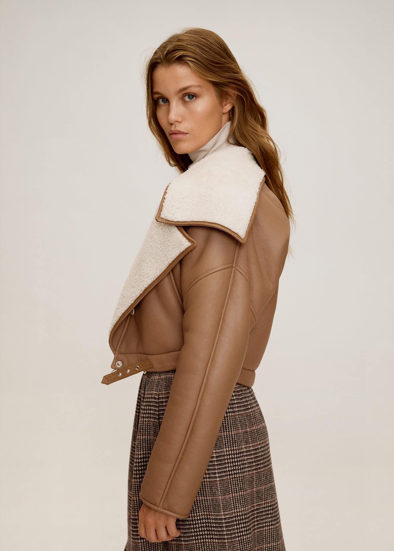 Sheepskin Leather Jacket Women Mango Usa