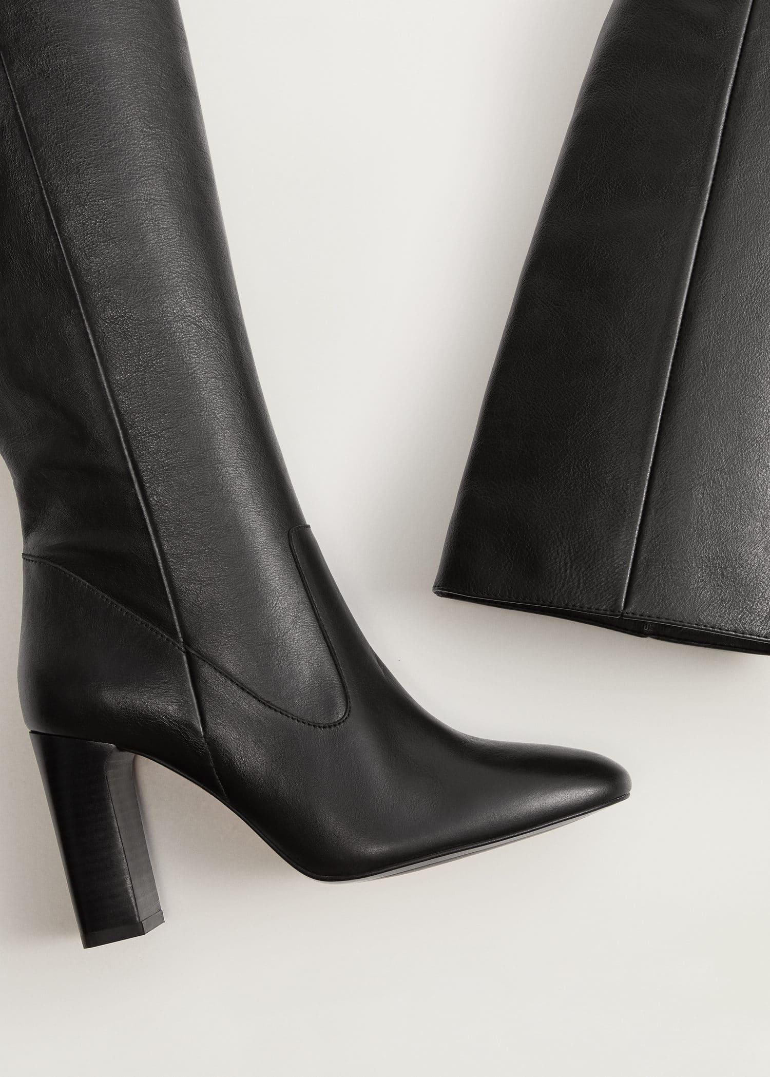 Hoge leren laarzen Dames | Mango Nederland