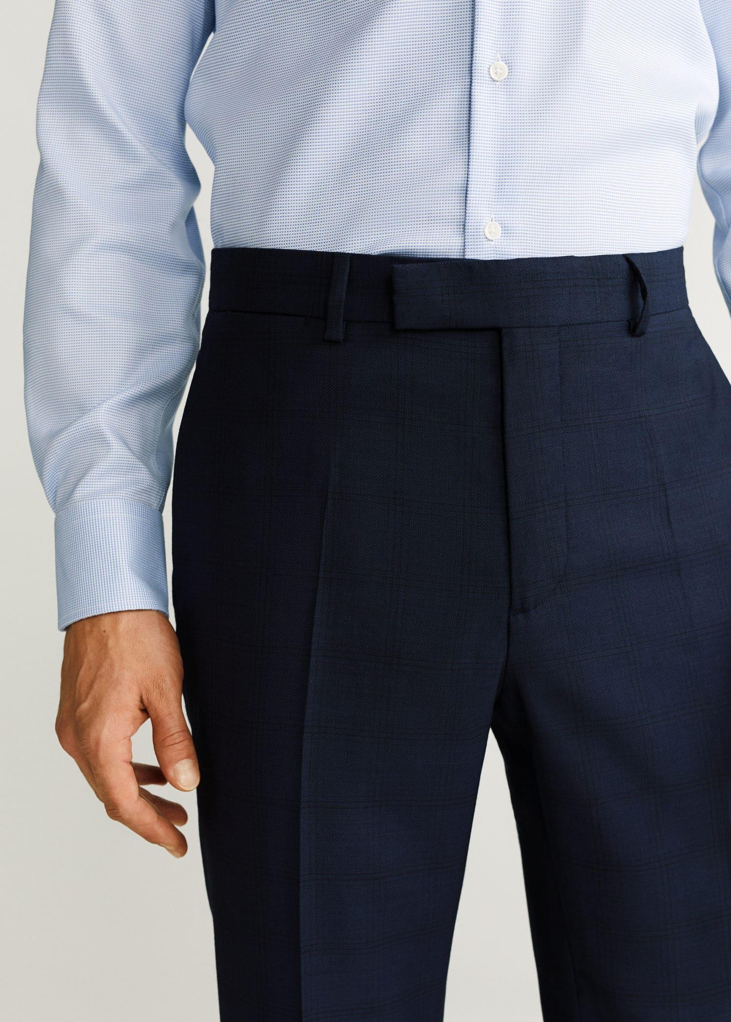 Veste costume slim fit laine vierge bleu marine foncé Mango