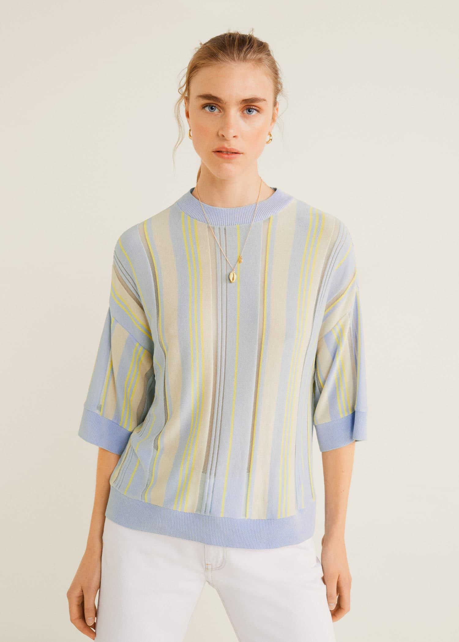 Fine knit striped sweater Woman | Mango Kosovo