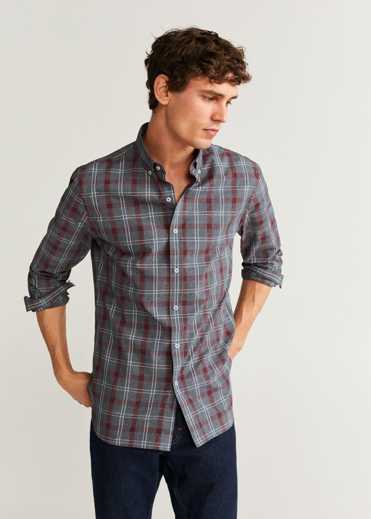 Camisa slim fit algodón cuadros Hombre | Mango Man España