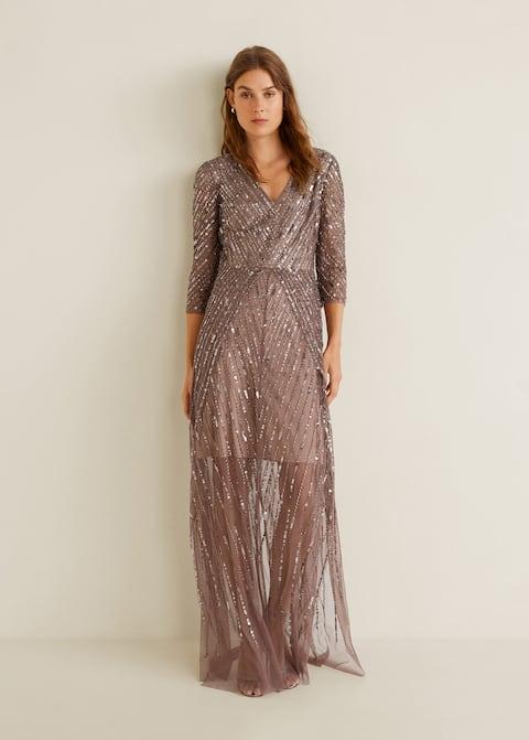Langes kleid mit pailletten - Damen | Mango Deutschland
