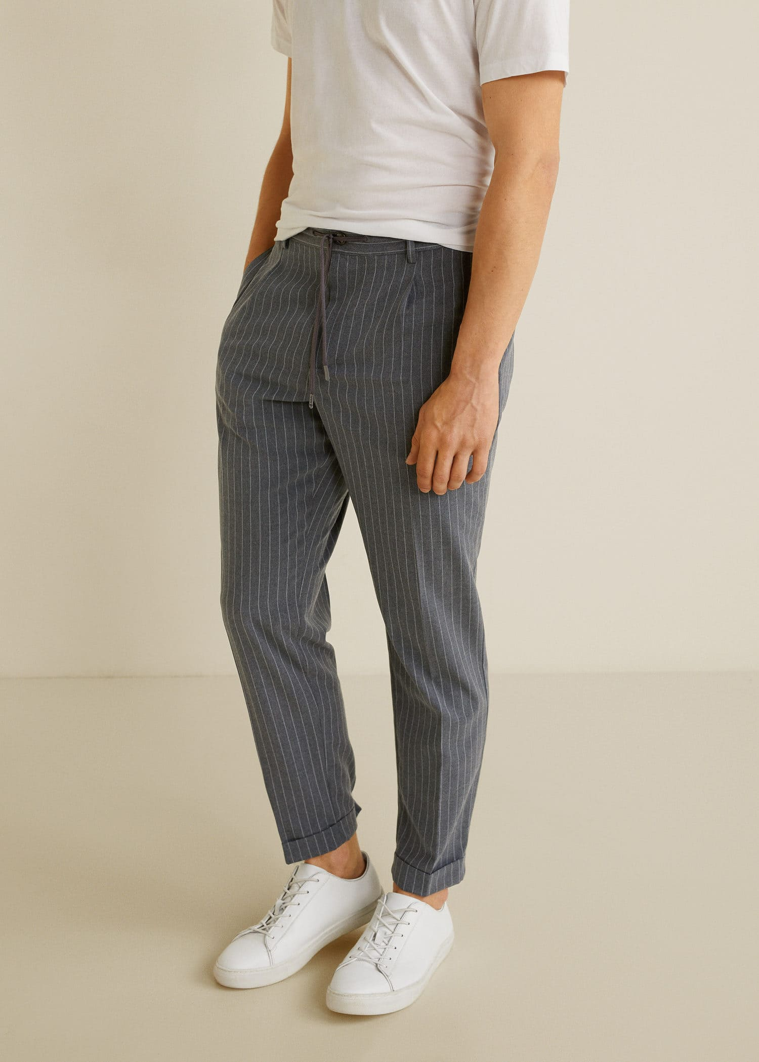 Pantalon regular fit pinces cordon Homme | Mango Man Canada