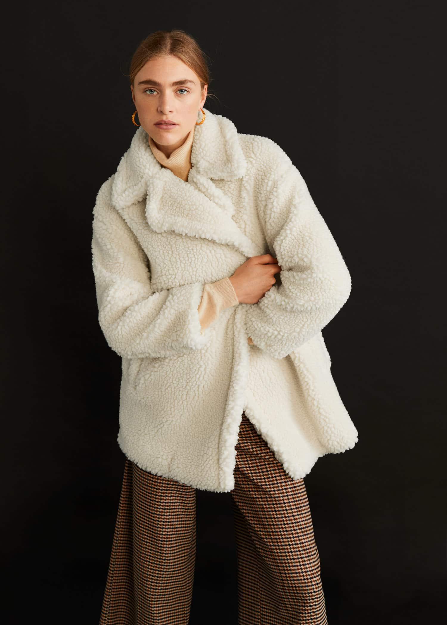 Manteau imitation mouton retourné double boutonnage Femme