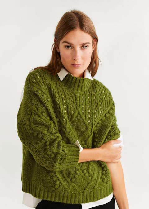 online retailer nice shoes best choice Contrasting knit sweater - Woman   Mango Bermuda