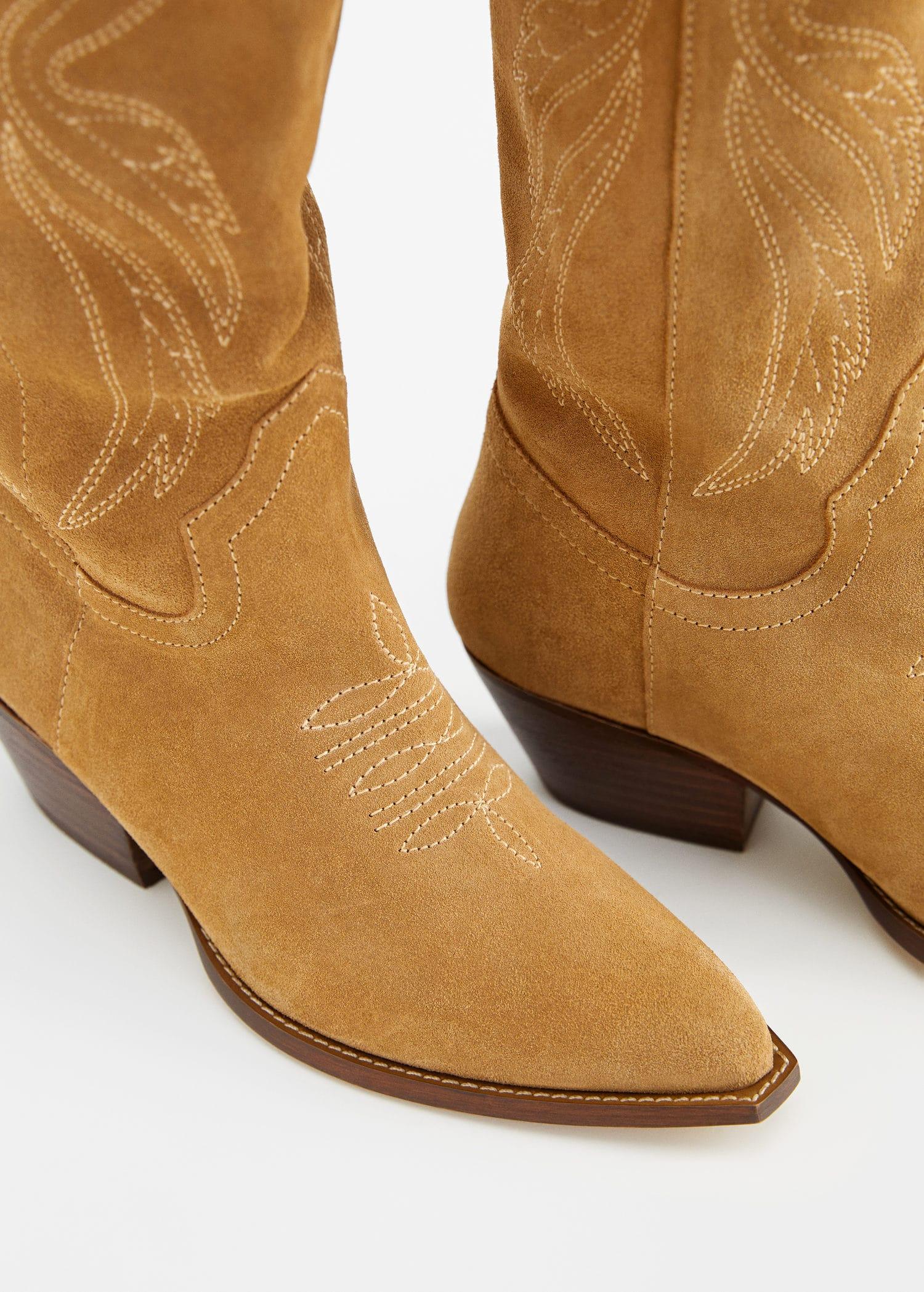 Bota piel cowboy Tallas grandes   Violeta by MNG Panamá