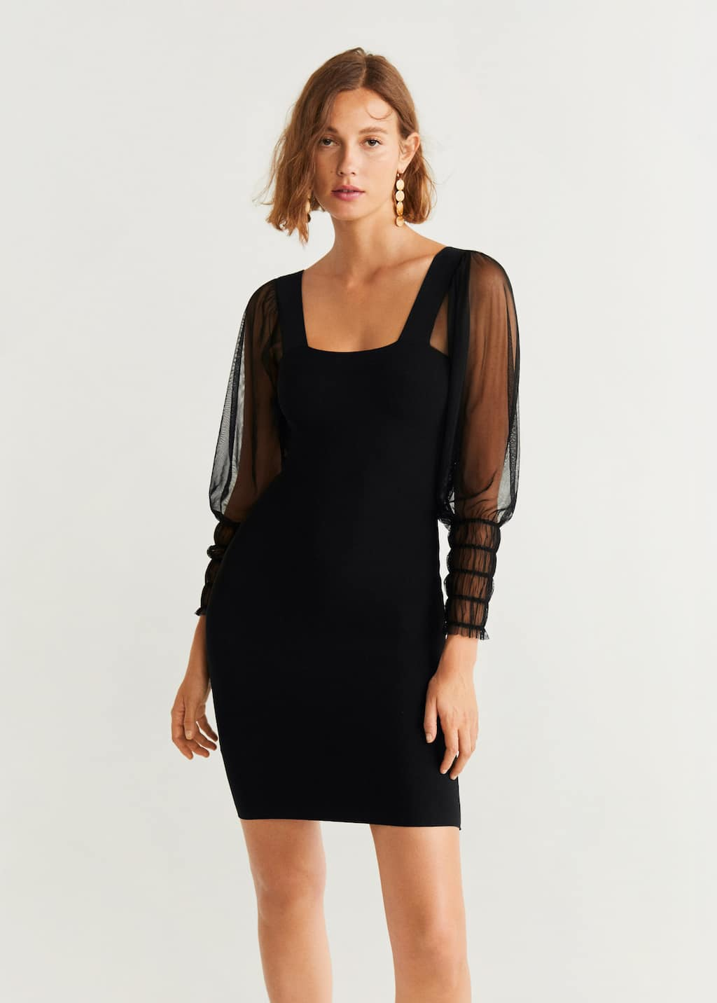Organza sleeves dress - Woman  OUTLET United Kingdom (Channel