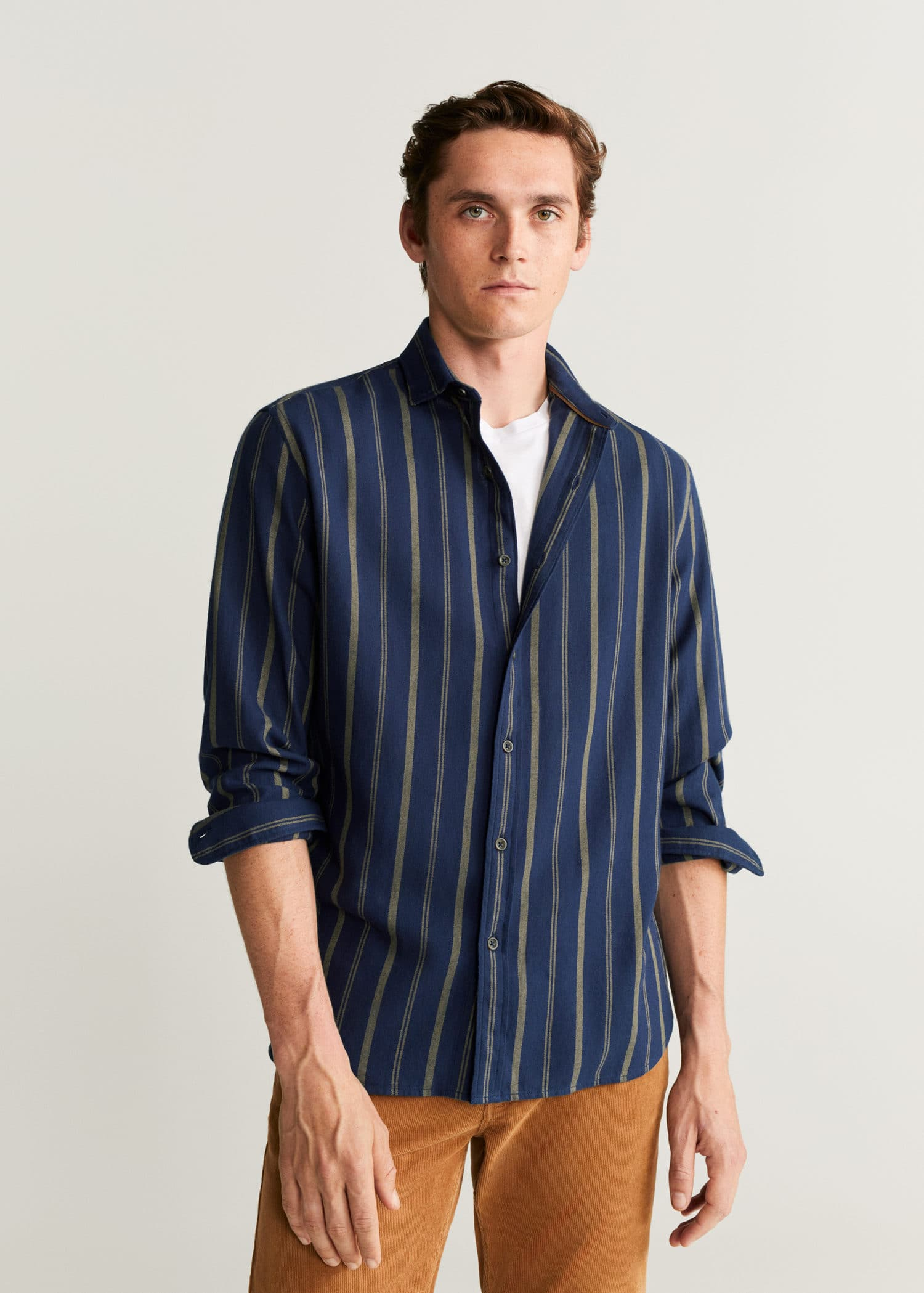 Mango Oxford Regular Fit Camicia Uomo Celeste