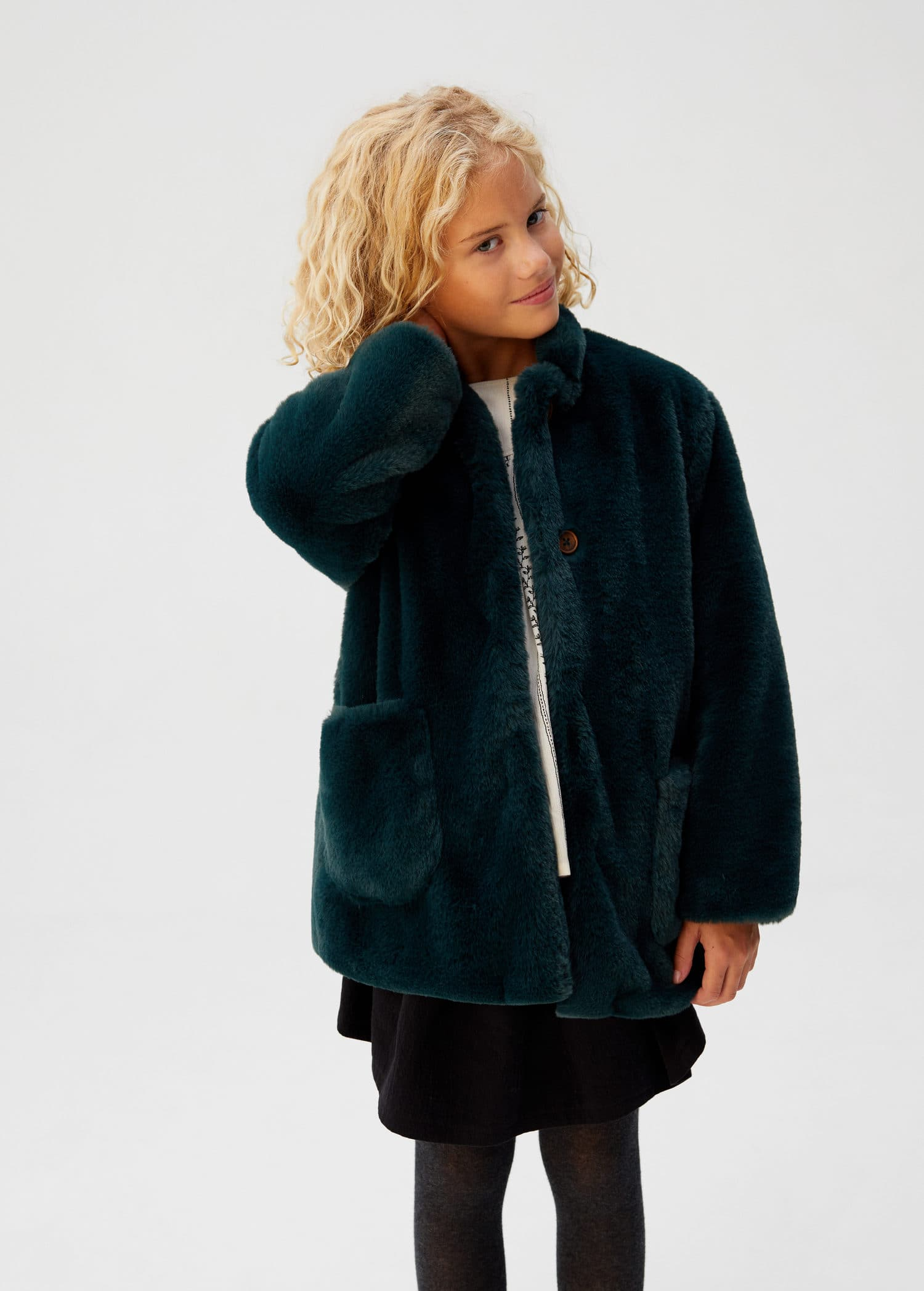 Manteau fourrure synthétique poches Fille | Mango Kids France