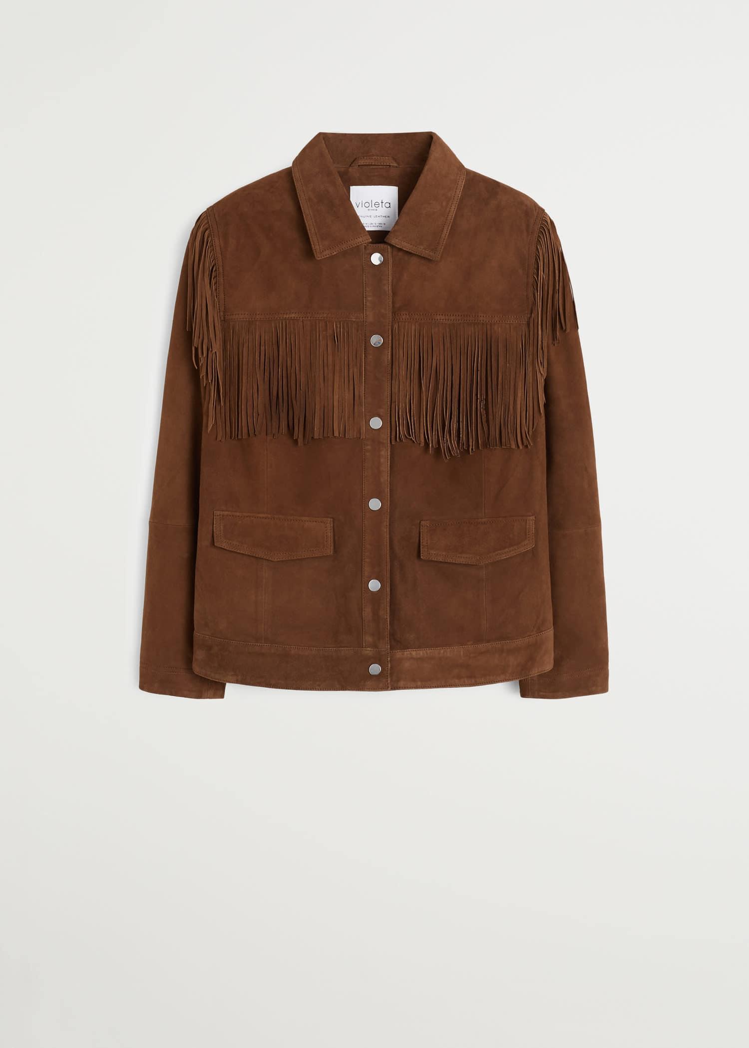 Jacke aus 100 % leder mit fransen Große größen | Violeta