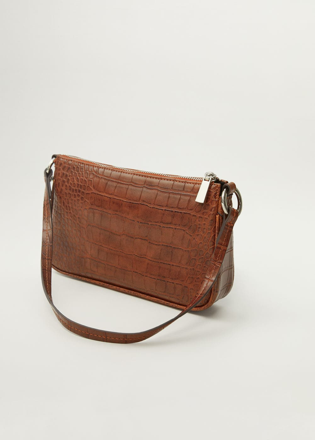 Croc Effect Baguette Bag by Mango
