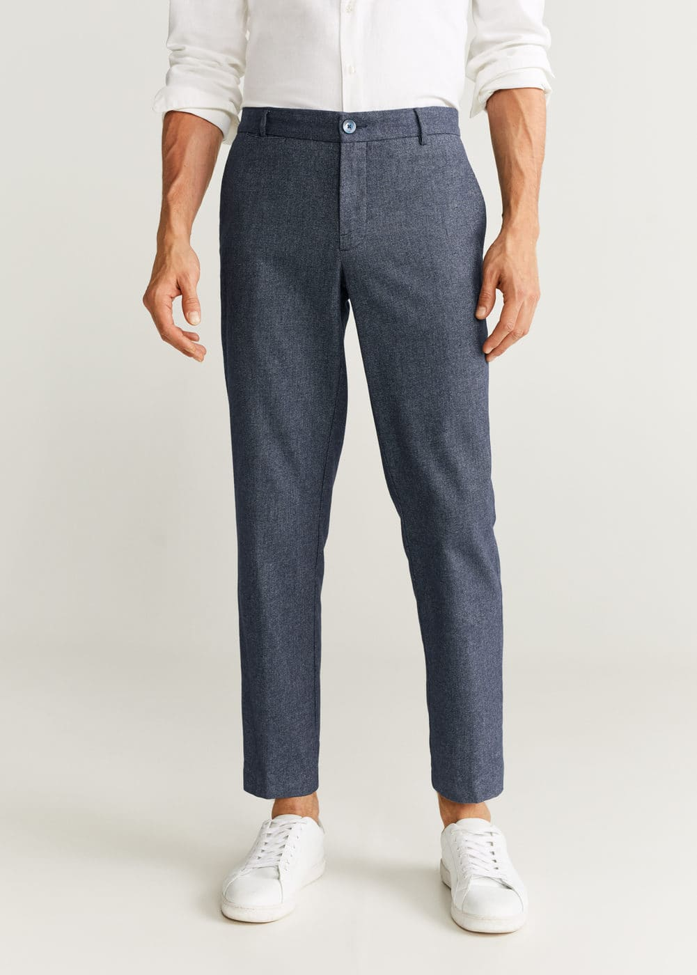 Slim Fit Structured Cotton Trousers by Mango