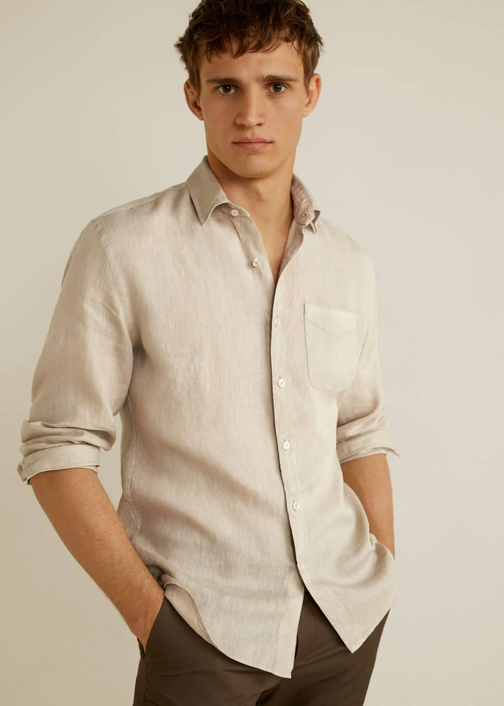 h-calcuta:camisa regular fit 100% lino