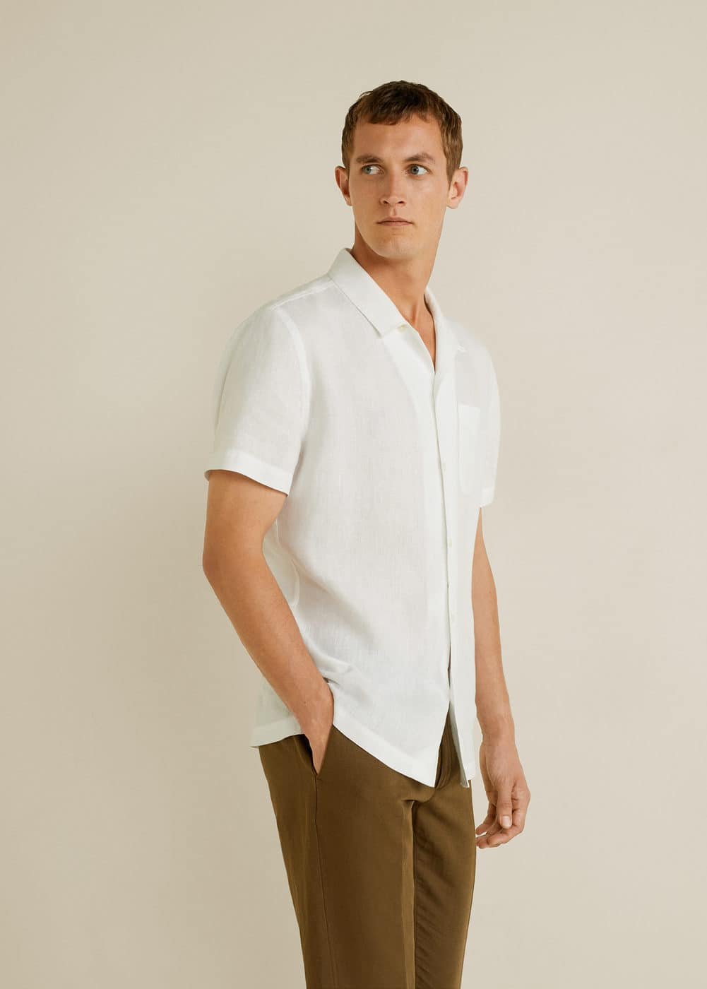 h-hawai:camisa regular fit 100% lino
