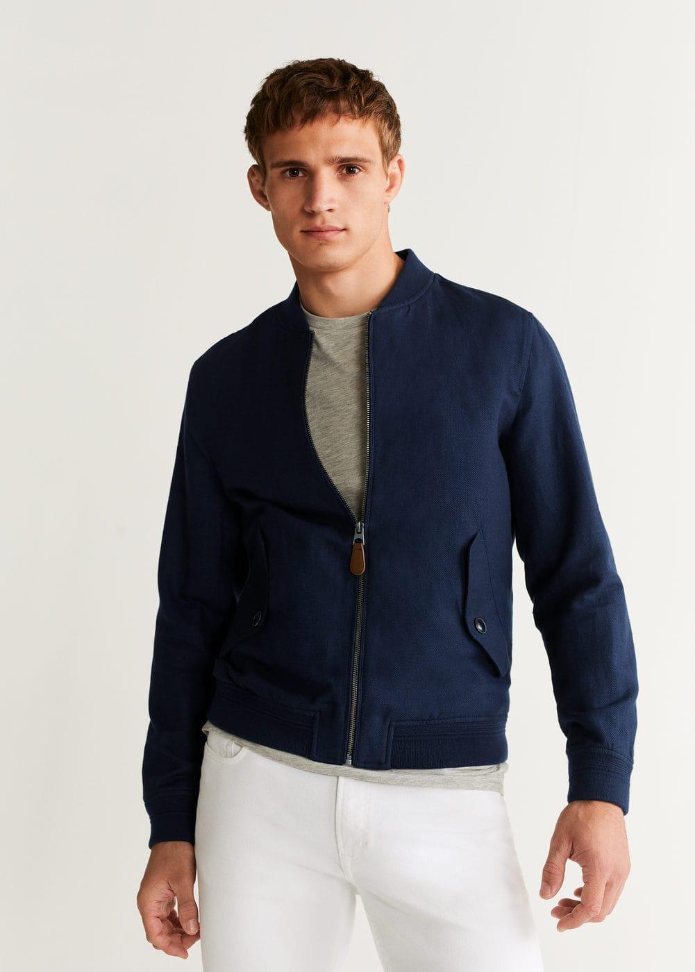 Linen Cotton Bomber Jacket by Mango