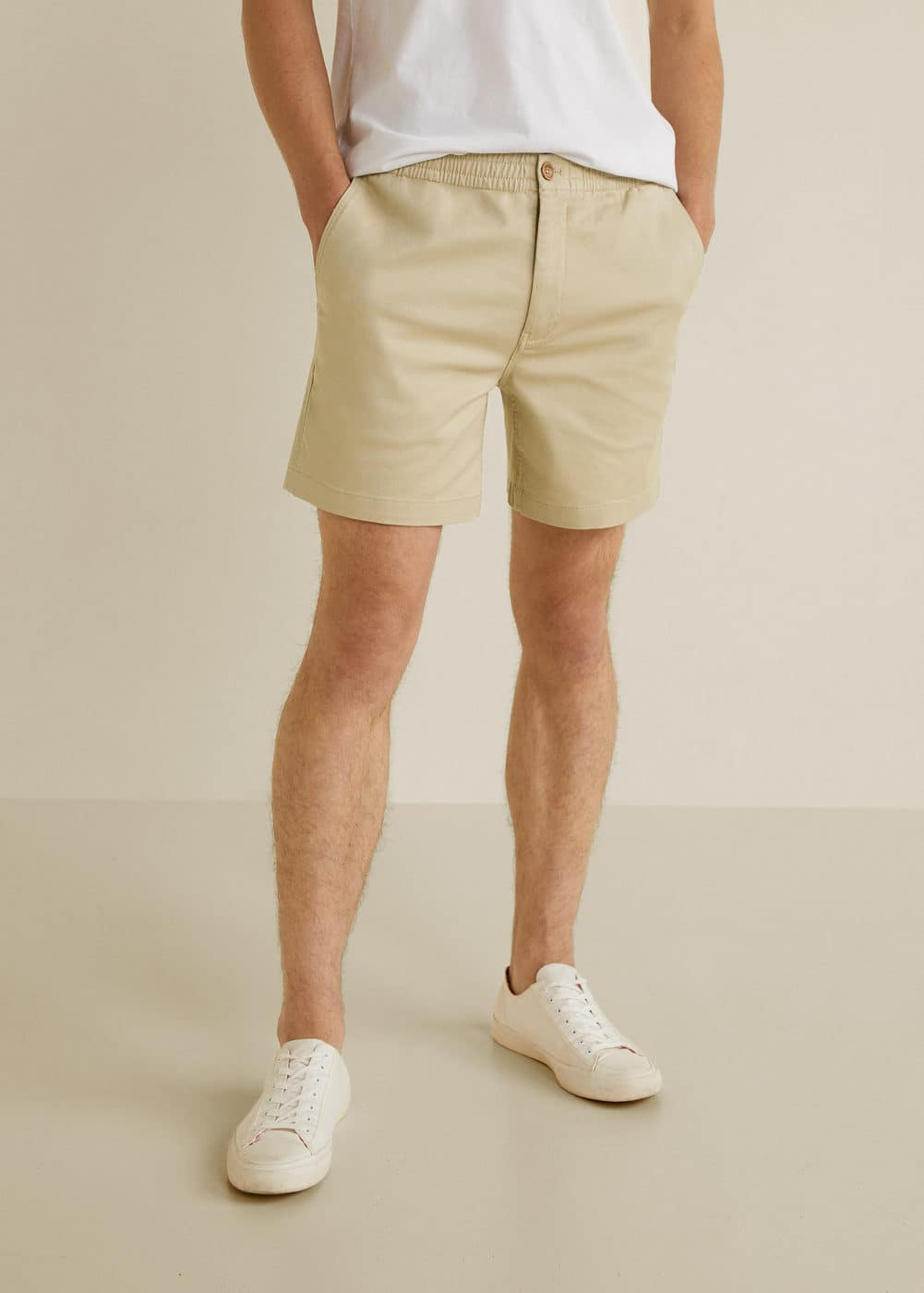 Elastic Waist Cotton Bermuda Shorts by Mango