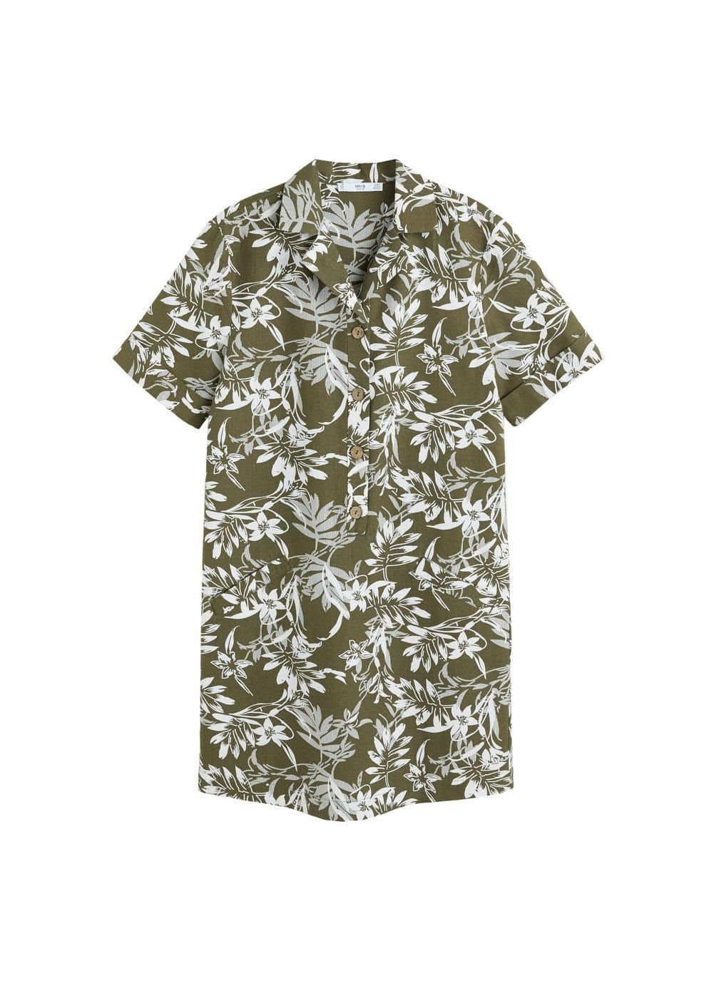 m-mustard-h:vestido algodon flores