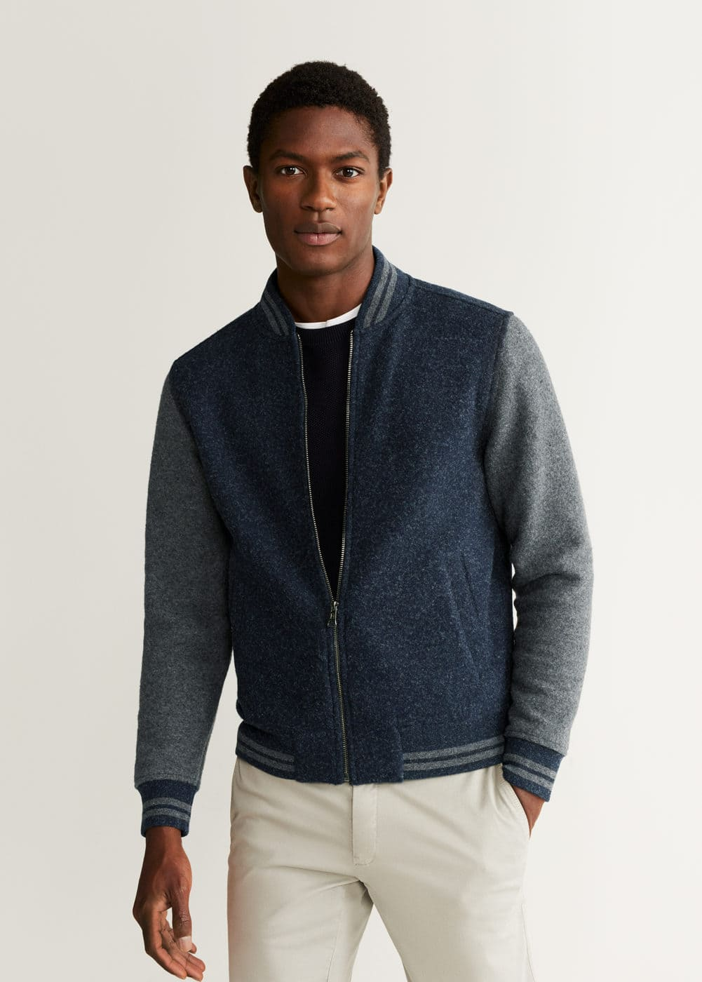 Textured Contrast Stripes Bomber by Mango