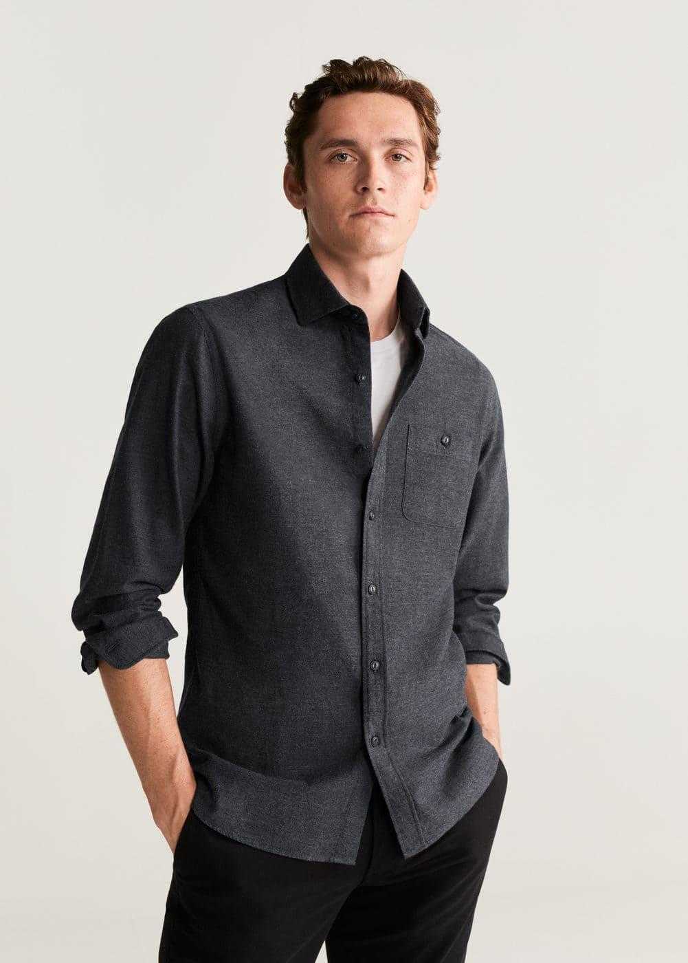 Slim Fit Flecked Cotton Shirt by Mango