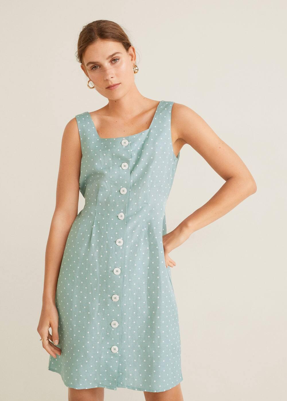 m-agnes:vestido lino estampado