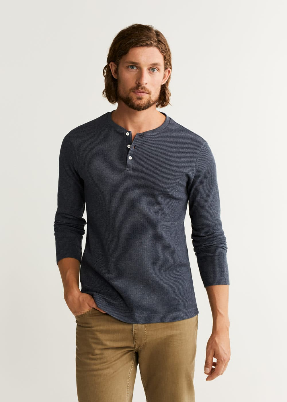 to buy top-rated fashion factory Structured henley collar t-shirt