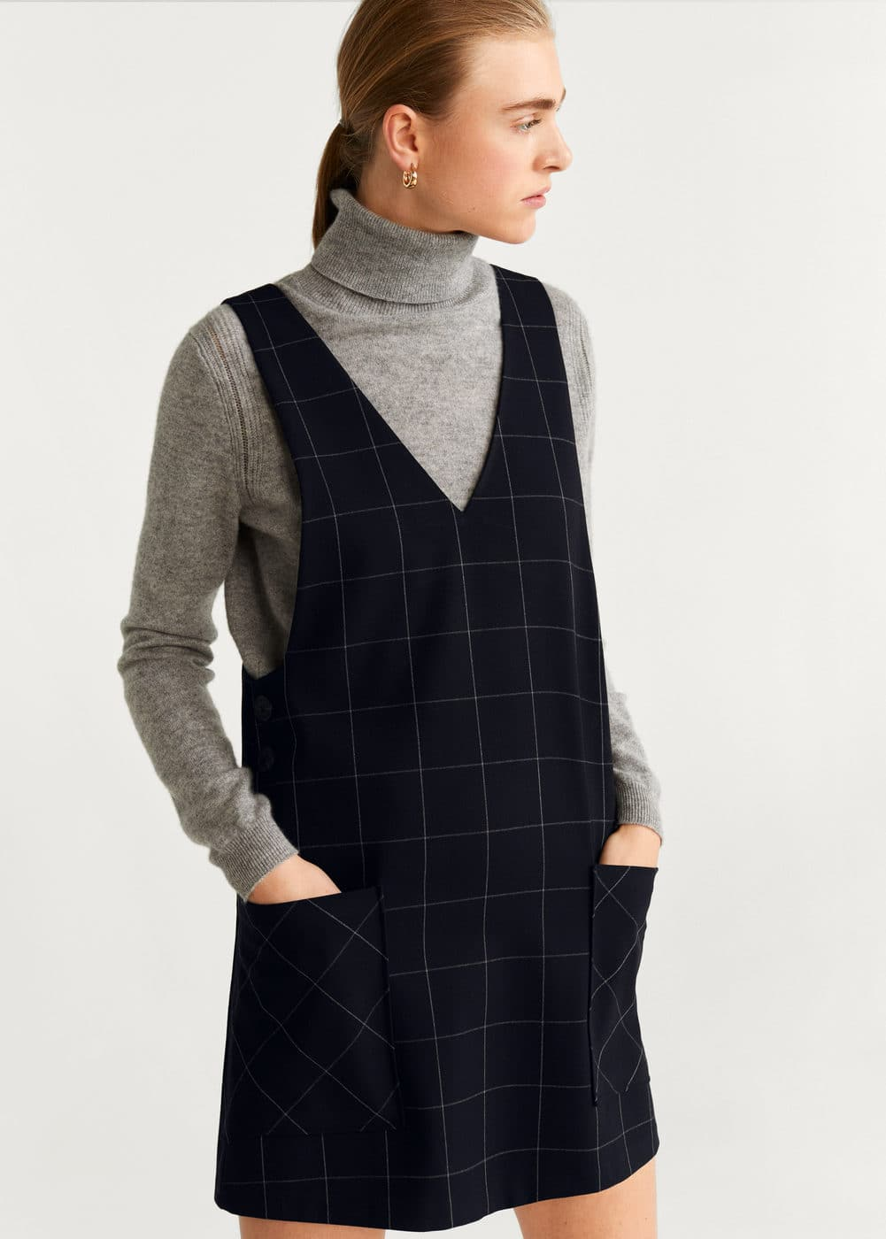 Two Pocket Check Dress by Mango