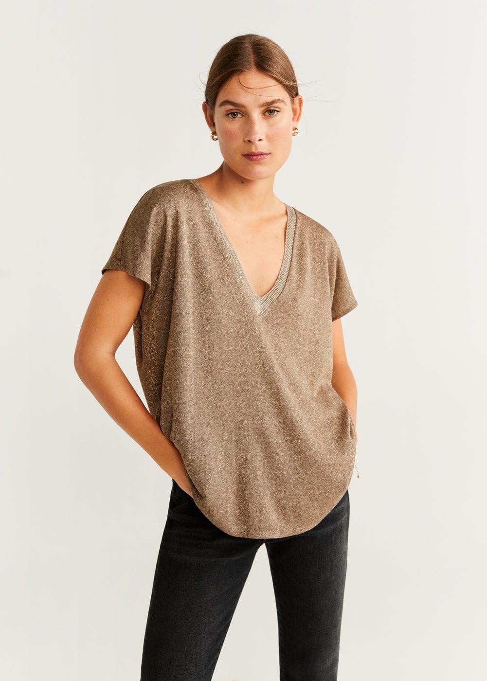 T Shirt Fil Métallisé by Mango