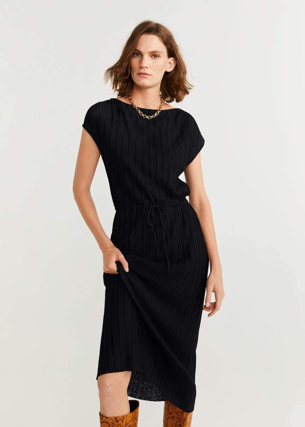 m-pliss:vestido plisado cordon