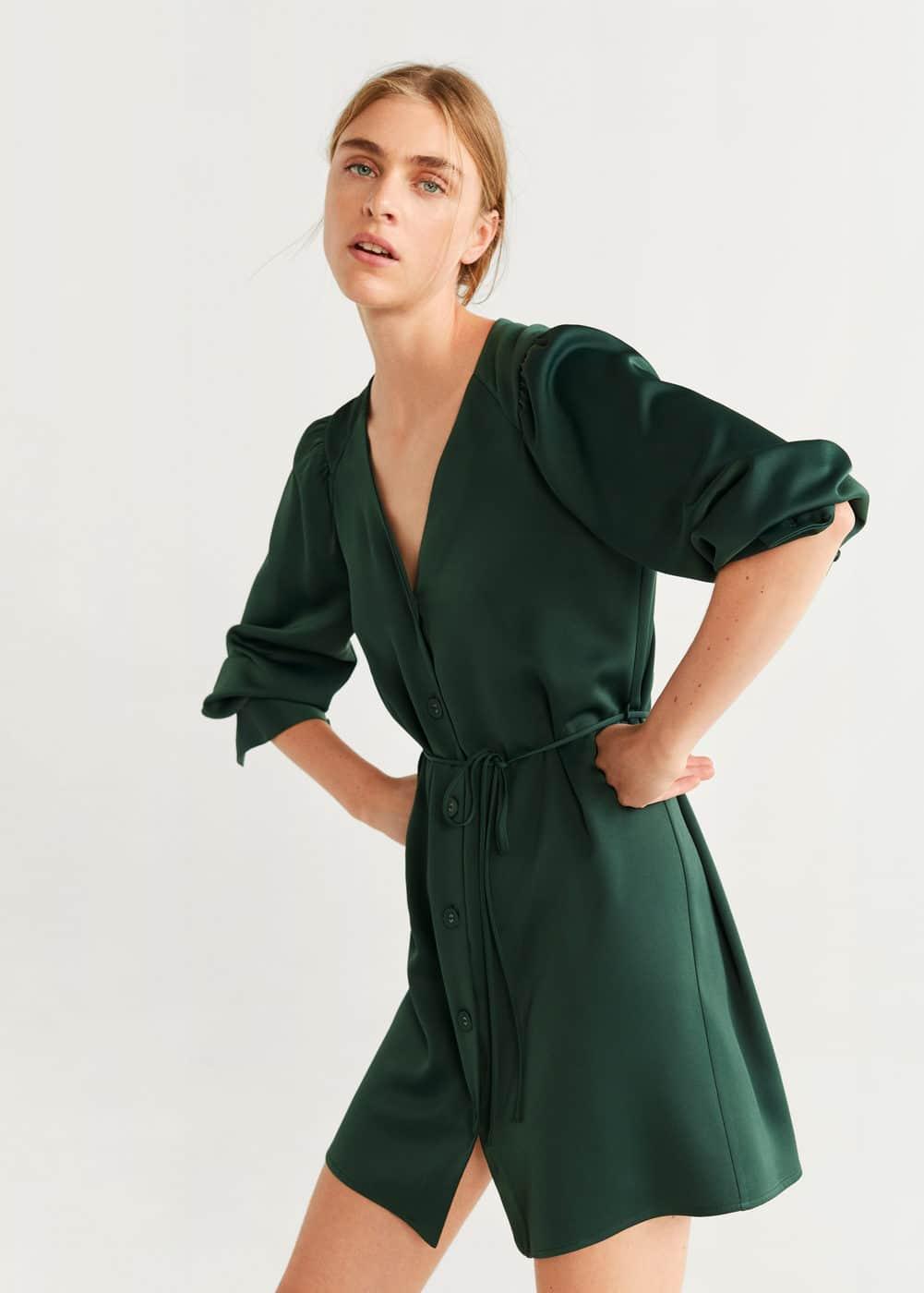 m-brunete:vestido corto botones