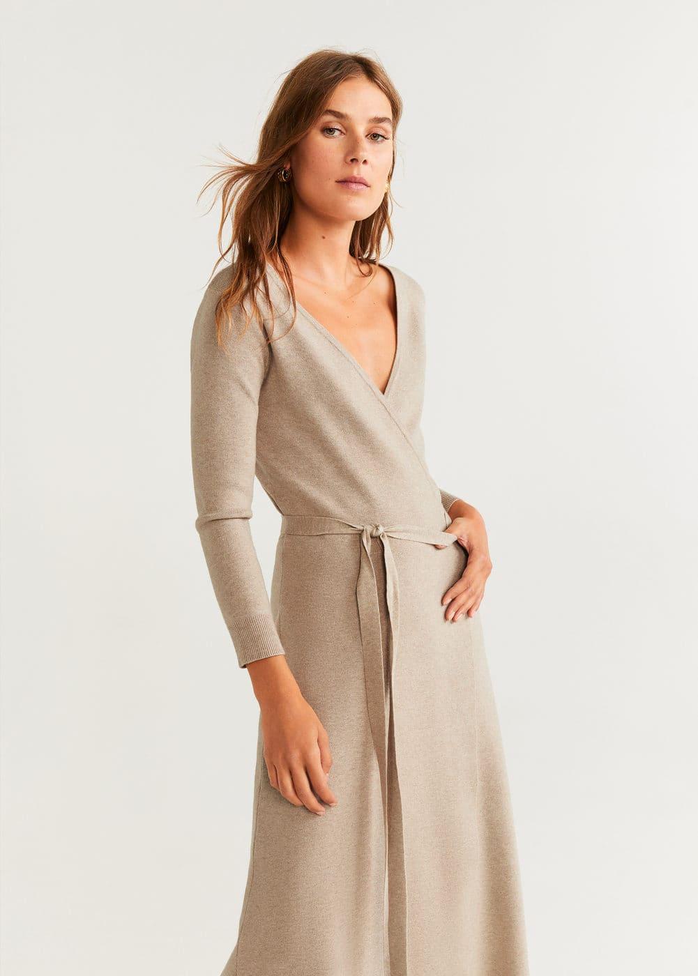 Sukienka Kopertowa Z Dzianiny by Mango