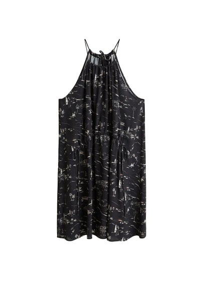 MANGO Printed halter gown