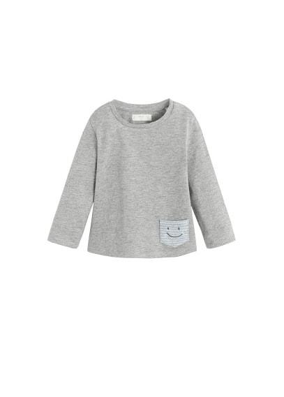 T-shirt rayures poche brodée