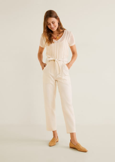 Straight cotton trousers by Mango