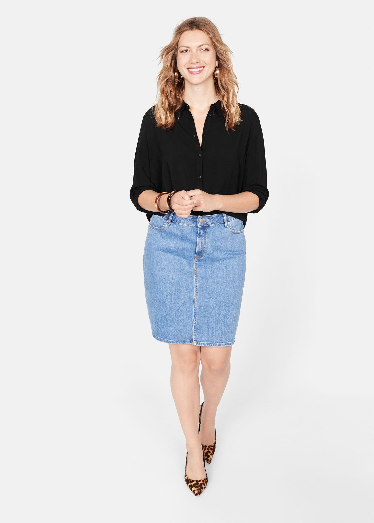 Løs skjorte med knapper Store størrelser | Violeta by