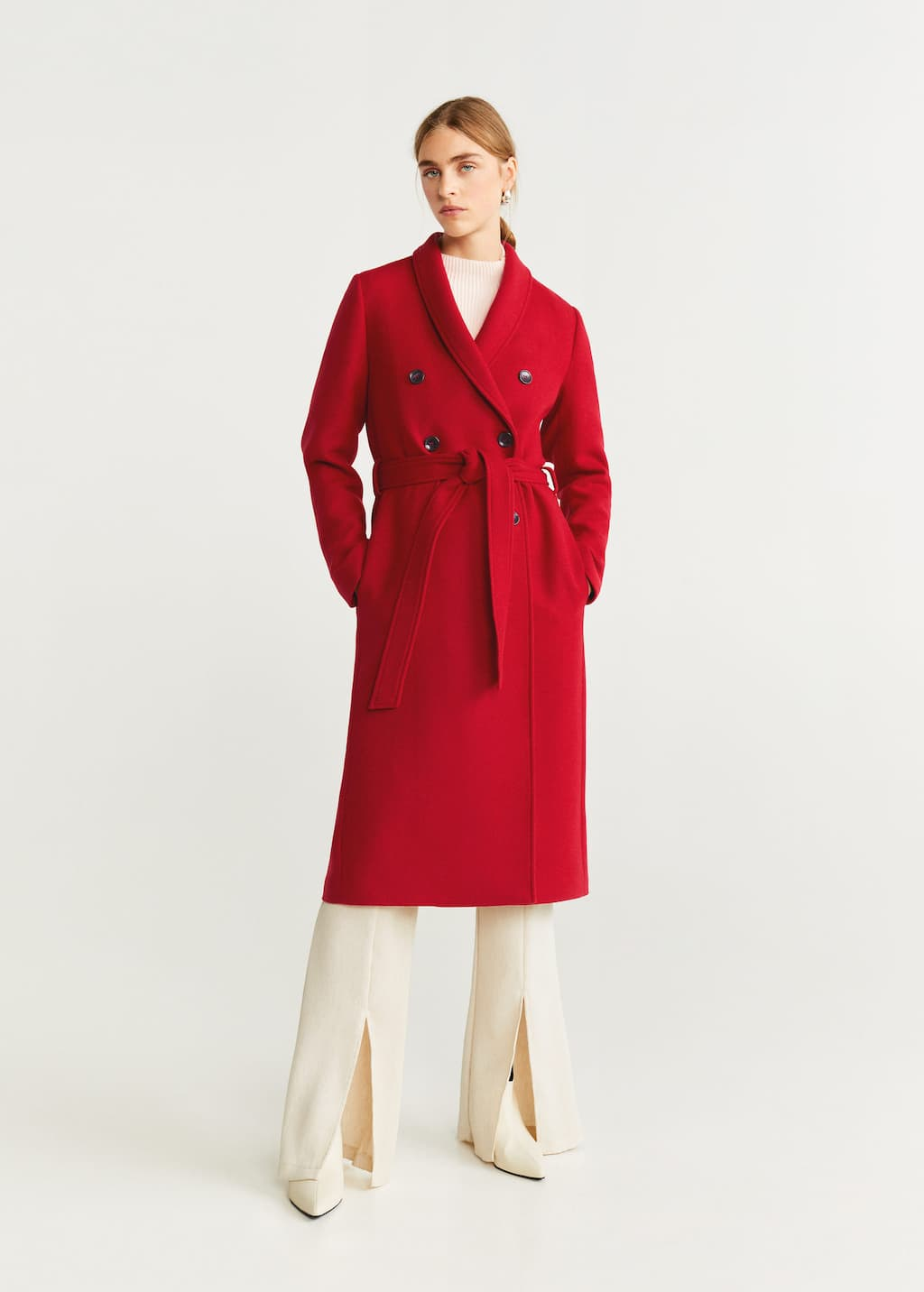 Double-breasted wool coat - General plane