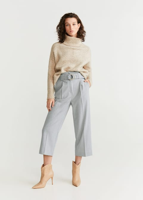 Belt straight-fit trousers by Mango