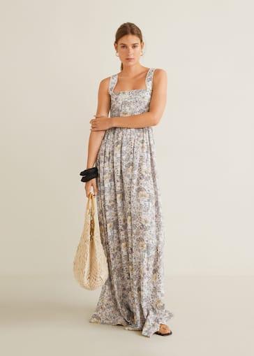 8447752a7d5d1 Langes Kleid mit Relief-Blumen - Allgemeine Ansicht